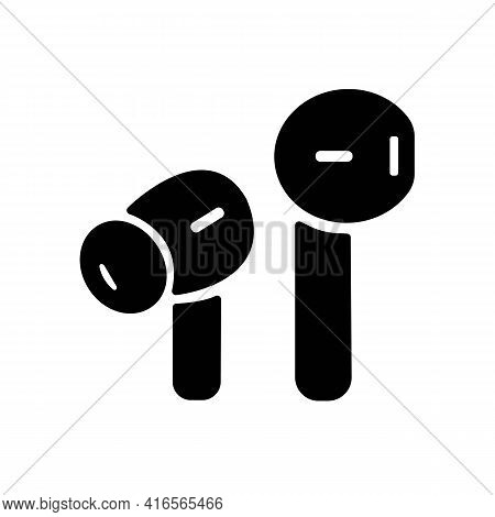 Air Or Wireless Headphones, Earphones Solid Black Line Icon. Trendy Flat Style Isolated Symbol For: