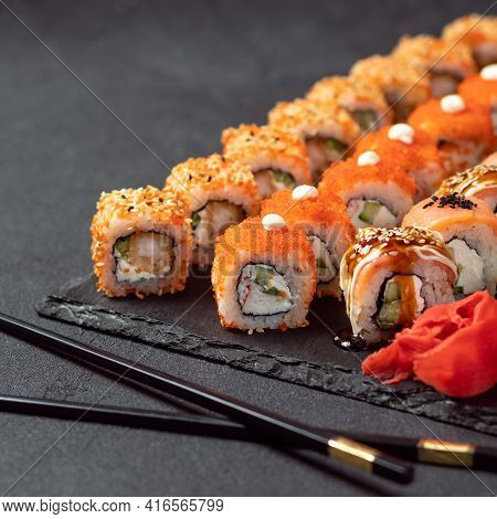 Feng Shui Roll, Kani Hot Sushi Roll With Philadelphia Roll Close Up