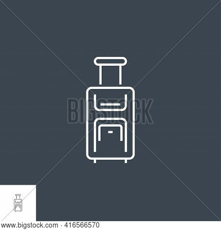 Suitcase Icon. Suitcase Related Vector Line Icon. Isolated On Black Background. Editable Stroke.
