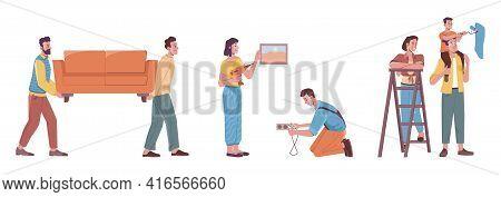 Repair Services At Home, Flat Cartoon People Renovate Interior Design. Vector Workers Move Sofa Furn