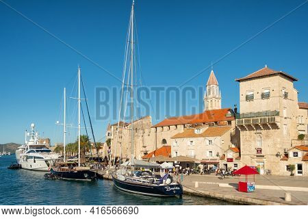 Trogir, Croatia - September 10, 2019: Historic view of the Trogir old town waterfront, Dalmatia, Croatia