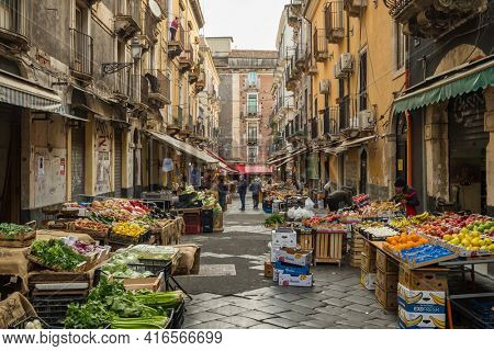 Palermo, Sicily - March 3, 2020: Fresh fruits and vegetables at Ballaro market in Palermo, Sicily