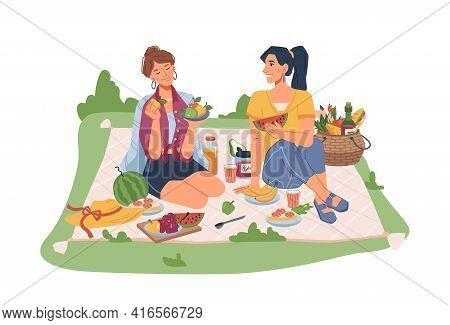 Female Friends Sitting On Blanket On Picnic, Seating Fruits And Snacks. Vector Sandwiches, Juice And