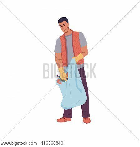 Volunteer Man Gathering Trash Into Bag Isolated Flat Cartoon Character. Vector Male Activist In Rubb