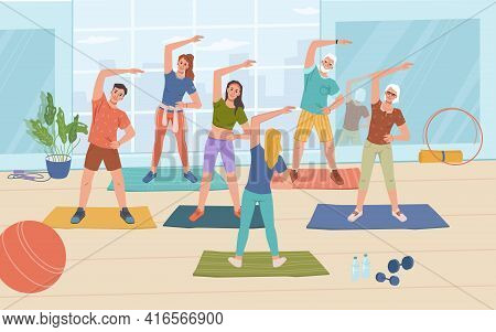 Fitness Yoga Classes In Gym, Healthy Man And Woman Standing On Mats And Doing Sport Exercises, Flat