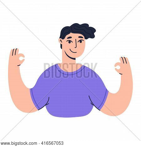 Happy Boy Showing Positive Gestures And Emotions. Smiling Man With Okay Sign. Colored Flat Vector Il