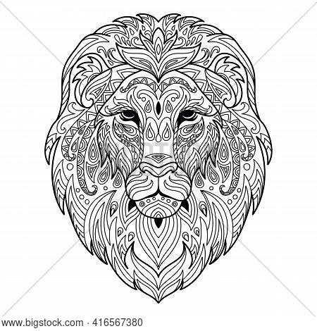 Head Of Lion. Abstract Vector Contour Illustration Isolated On White Background. For Adult Anti Stre