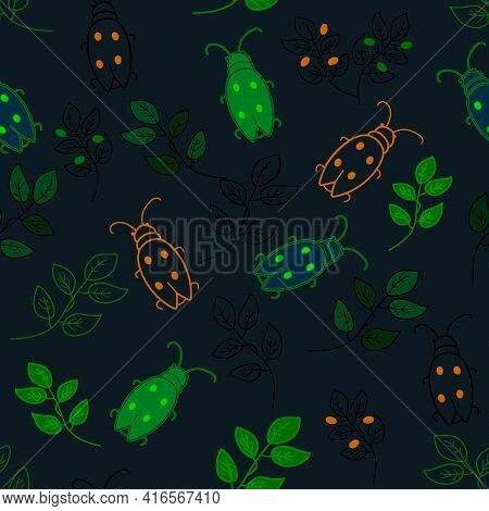 Vector Seamless Doodle Pattern With Glowing Beetles, Plant On Dark Background. Cartoon Illustration