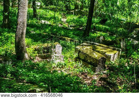 Medieval Cemetry Overgrown By Forest. Sunlight Illuminates Three Tombstones Covered By Green Moss Am