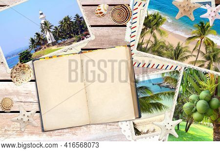 Vintage travel background with old wood planks texture, retro photos, open pocketbook, label, starfish and shell. Horizontal vacation backdrop with wooden boards. Mock up template. Copy space for text
