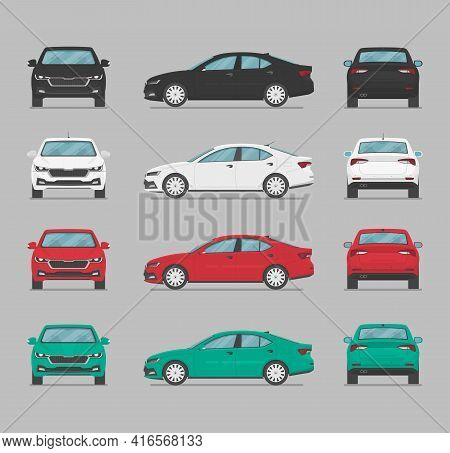 Vector Sedan Auto. Car From Different Sides. Side View, Front View, Back View, Top View. Cartoon Car