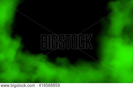 Green Fog Or Smoke Color Isolated Transparent Special Effect. Green Vector Cloudiness, Mist Smog Bac