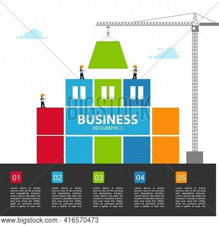 Tower Crane Made Of Colored Blocks Builds City. Vector Illustration.