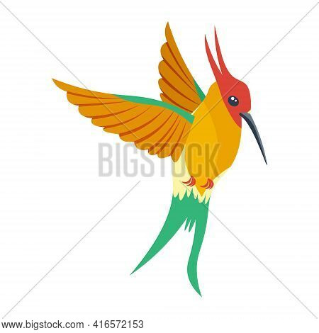 A Bright Multicolored Hummingbird, A Bird Painted In Several Colors Red Green Orange . Vector Illust