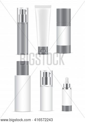 Cosmetic Bottle Mockup. White Plastic Cosmetic Product Container, Vector Jar. Skin Care Gel, Dispens