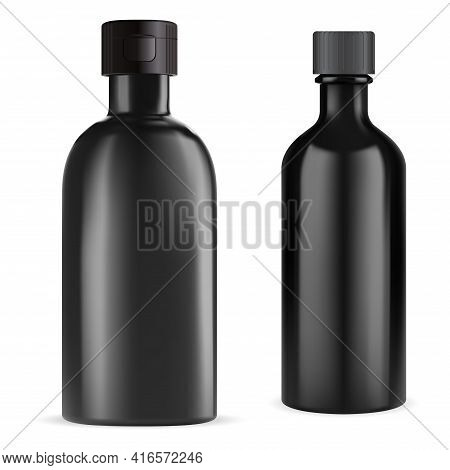 Black Bottle. Essential Oil Vial. Medical Syrup Flask 3d Blank. E Juice Container Design. Herbal Tin