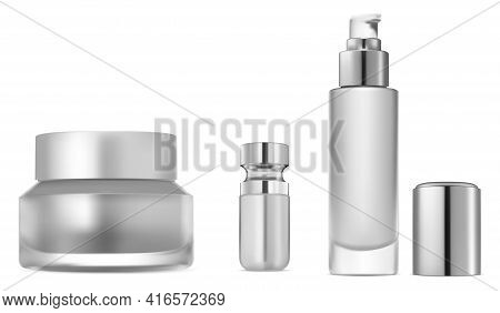 Cosmetic Serum Bottle Set. Collagen Essence Container Mock Up.glitter Or Foundation Glass Object. Cr