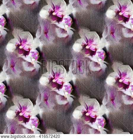 Seamless Pattern With Orchids. Abstract Impressionism. Modern Painting.  Hand-drawn Illustration.
