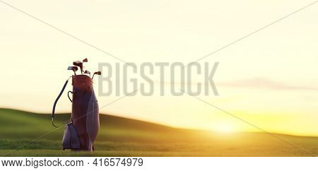 Golf clubs in bag at golf course resort at sunset. 3D illustration