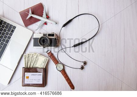Top View Of Traveler Item Accessories Man And Credit Card With Tourism Backpack And Visiting For Pla