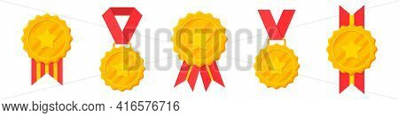 Set Of Winner Golden Medals With Red Ribbon And Star