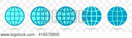 Set Of Different Globe Icons. Vector Illustration