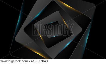 Black and glowing blue orange squares background