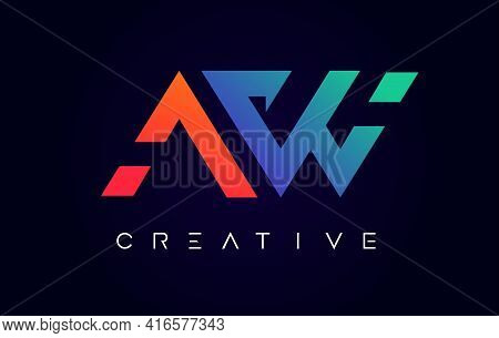 Aw Logo Letter Design With Modern Creative Concept And Orange Blue Colors Vector Illustration