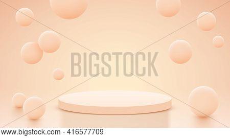 Abstract Scene Background. Cylinder Podium On Background. Product Presentation, Mock Up, Show Cosmet