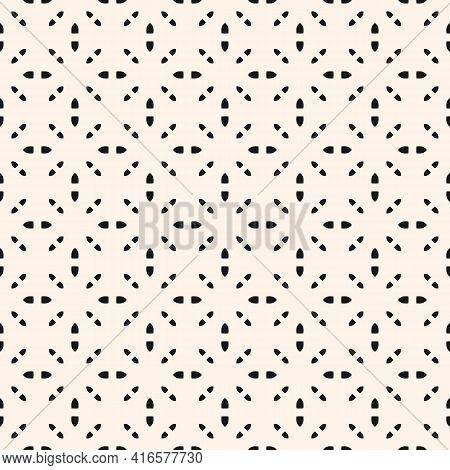 Black And White Vector Minimal Seamless Pattern. Subtle Minimalist Geometric Ornament, Abstract Mono