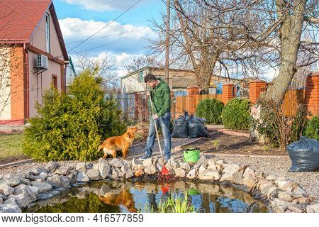 Mature Adult Caucasian Man With His Dog Cleans A Garden Pond With Leaf Rake From Water Plants And Fa