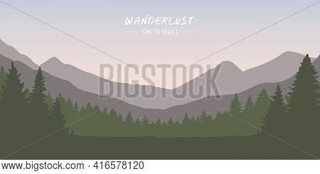 Wanderlust Forest And Mountain Landscape With Copy Space