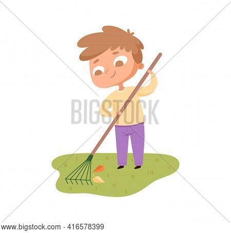 Boy Collects Leaves. Courtyard Care In Autumn Time. Cute Cartoon Toddler With Garden Tool Cleans Law