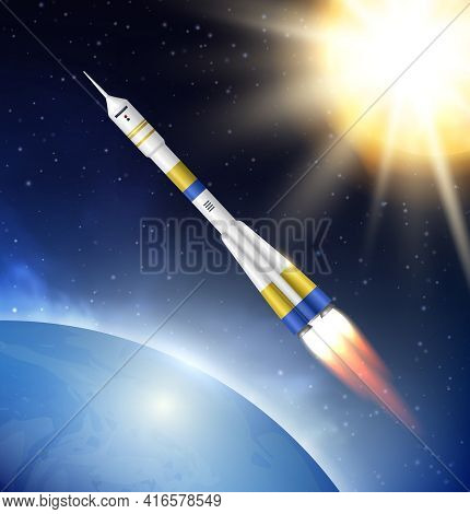 Rocket In Space. Flying Jet Rocket In Cosmos Stratosphere With Big Futuristic Planets And Stars Dece