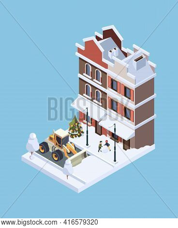 Snow Cleaning. Storm Winter Cold Weather Vehicle Urban Ice Cleaner Garish Vector Isometric Concept I