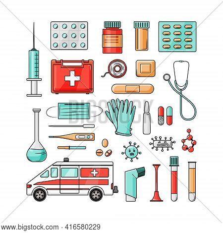 Medical Set On A White Background. Vector Illustration.