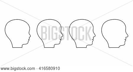 Age Stages From Child To Adult Old Man, Face Silhouette Profile. Outline Of Head Of Child, Teenager,