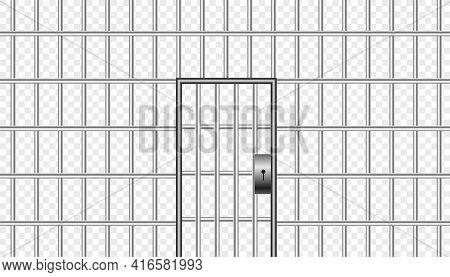 Realistic Metal Prison Bars With Jail Door