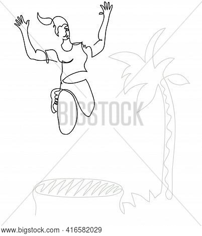 One Line Drawing Of Young Woman Jumping On An Outdoor Trampoline. One Continuous Line Drawing Of Hap
