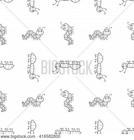 Seamless Background Of Outline Cartoon Funny Creeping Insects