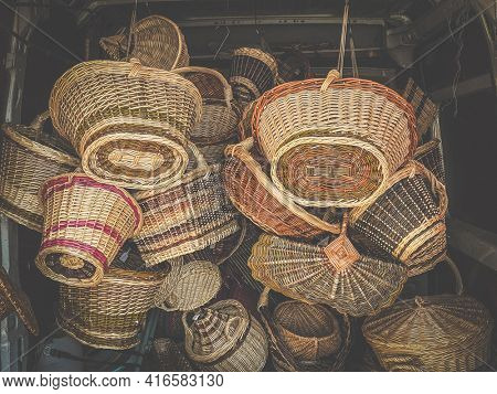 Wicker basket in the van of an artisan going to sell them on a craft market in Avioth in Meuse, France, Vintage filtered