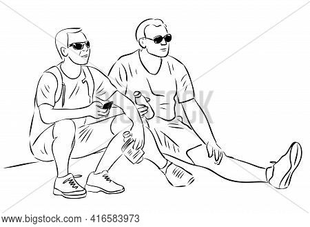 Outline Drawing Two Friends Tourists Resting During A Stroll
