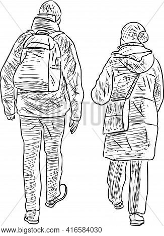 Sketches Of Couple Citizens Walking Outdoors Together