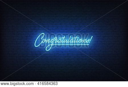 Congratulations Neon Sign. Glowing Neon Lettering Congratulations Template