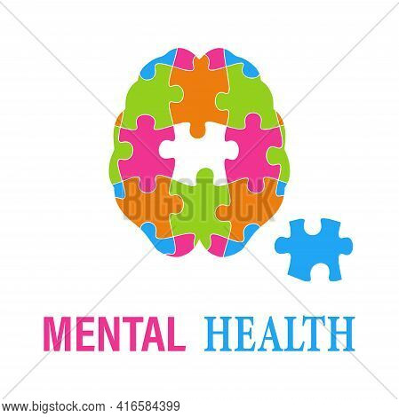 Illustration Of The Mental Health Concept Vector.brain Puzzle Game. World Mental Health Day. Psychol