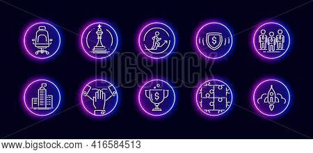 10 In 1 Vector Icons Set Related To Headquarters Office Theme. Lineart Vector Icons In Neon Glow Sty