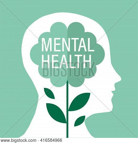 A Silhouette Of A Human Head With A Brain-shaped Flower Inside. Illustration Of The Mental Health Co