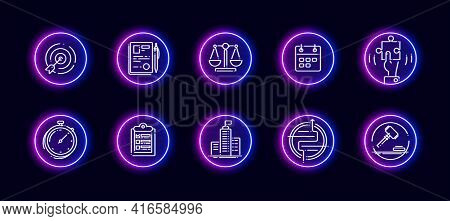 10 In 1 Vector Icons Set Related To Comparison Theme. Lineart Vector Icons In Neon Glow Style