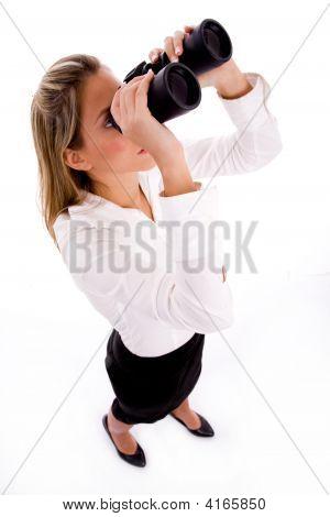 Top View Of Businesswoman Looking Through Binocular