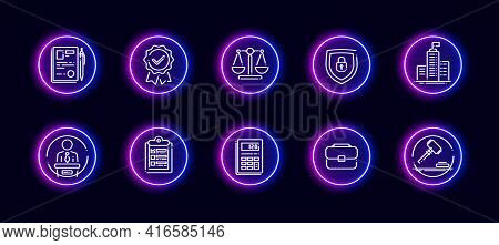 10 In 1 Vector Icons Set Related To Judgement Theme. Lineart Vector Icons In Neon Glow Style
